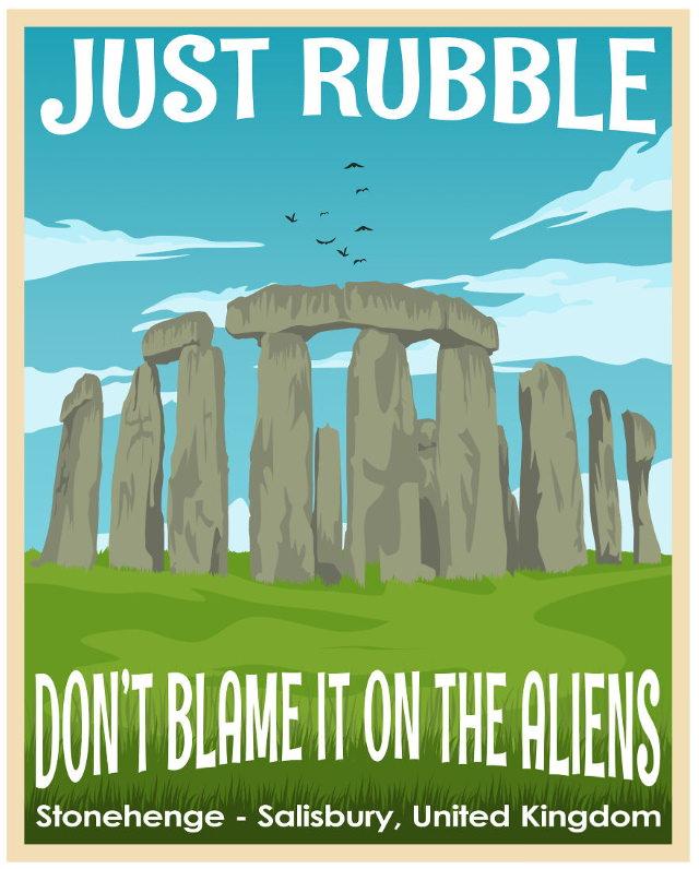 Funny Travel Posters Stonehenge, Salisbury, the UK