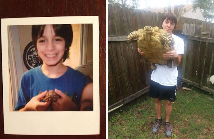 20 Eye Opening Comparison Photos, pet turtle 1993 vs 2003