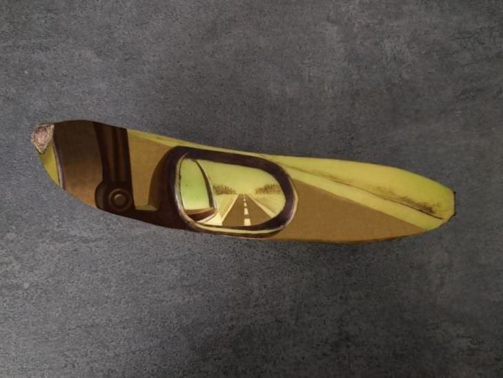 Incredible Banana Art by Anna Chojnicka, rearview mirror