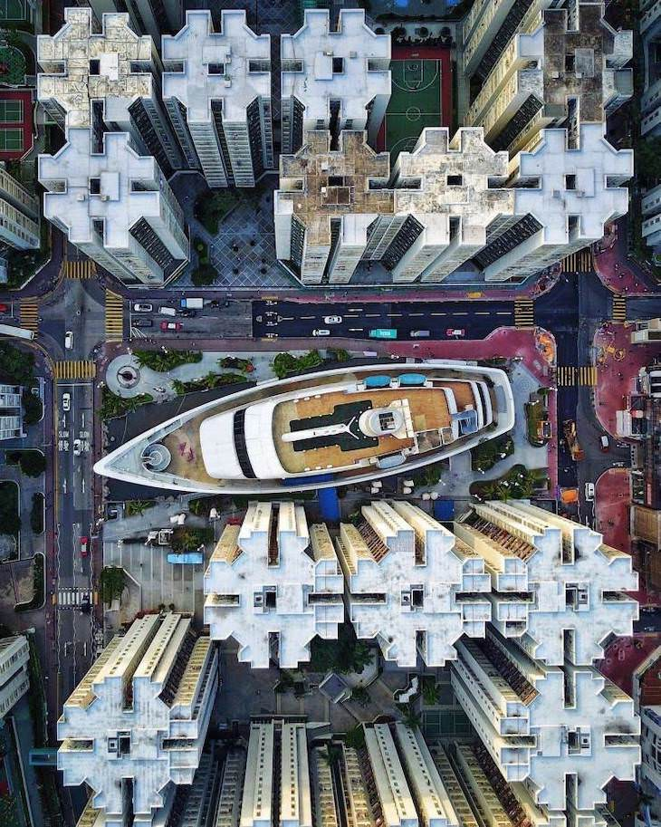 21 Stunning Spots Around the World, Whampoa, Hong Kong from above