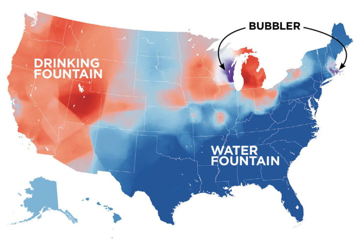 Maps of Regional Words in the USA water fountain