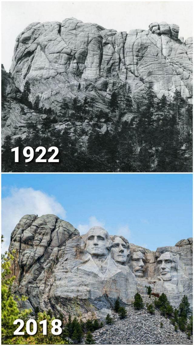 historical photo comparisons Mount Rushmore