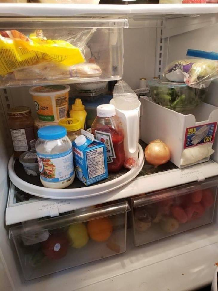 14 Super Cool and Resourceful Storage Solutions spinning fridge tray
