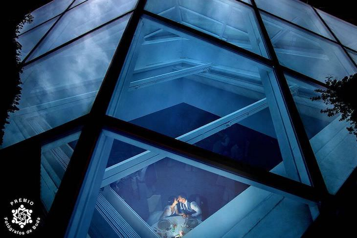 The FdB Awards' Top Wedding Photos of the Year couple seen through glass roof