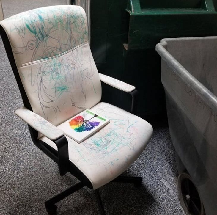 Funny and Relatable Photos of Bad Days kid drew on white chair