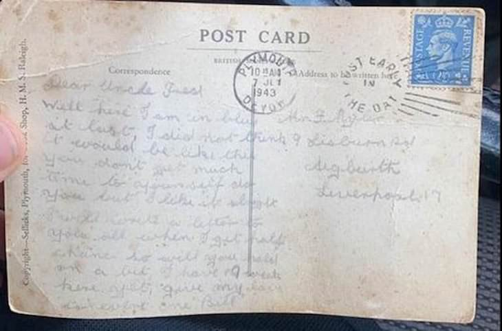 WWII Postcard Delivered After 77 Years letter
