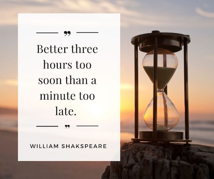 """Time Management Quotes To Inspire You """"Better three hours too soon than a minute too late"""". – William Shakespeare"""