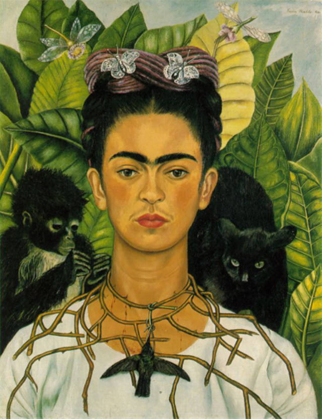 Famous Female Artists Frida Kahlo - Self-portrait with Thorn Necklace and Hummingbird (1940)