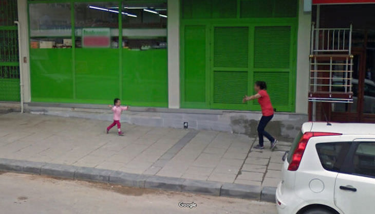 Unusual Images Caught in Google Street View mother and child