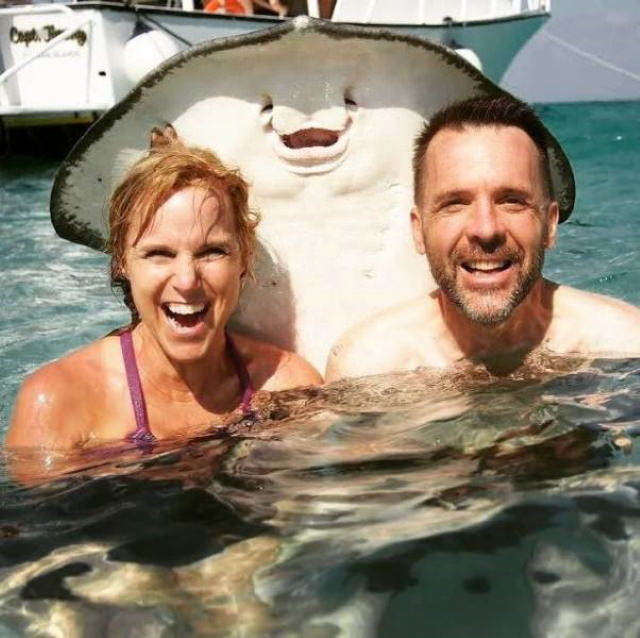 """Animal Photos Snapped at the Perfect Time """"My parents met a friendly stingray on vacation."""""""