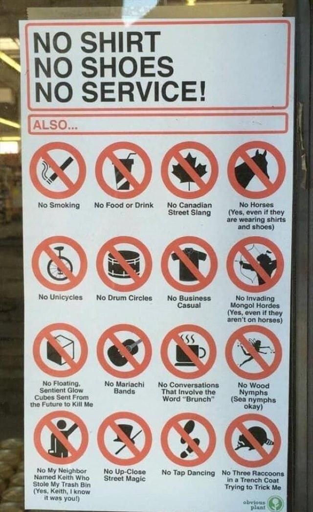 Funny Signs no shirt no service