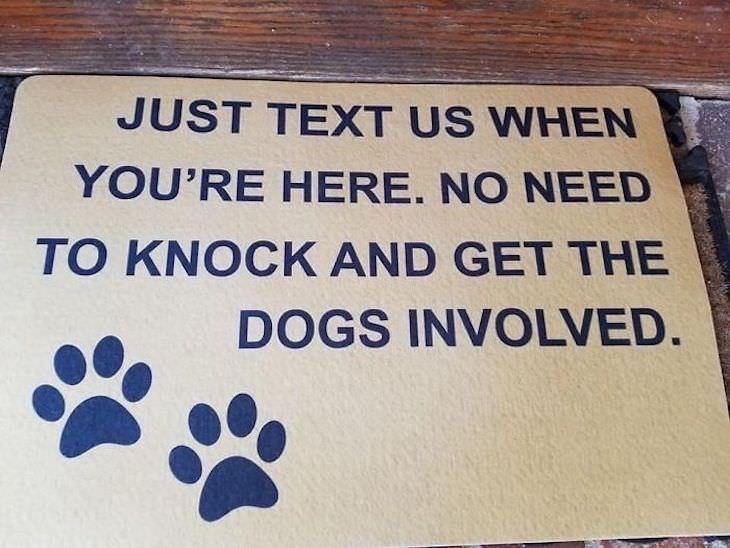 15 Hilariously Creative Doormats text us