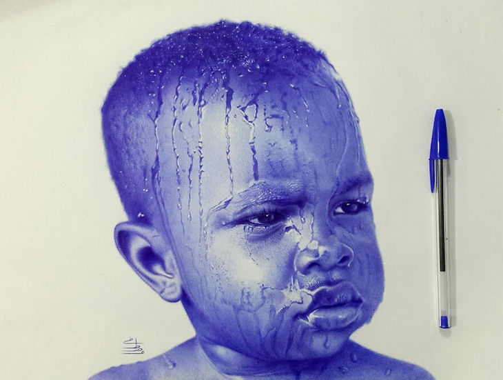 Hyperrealistic ballpoint pen drawings by Mostafa Khodeir, boy
