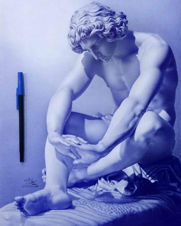 Hyperrealistic ballpoint pen drawings by Mostafa Khodeir, sculpture