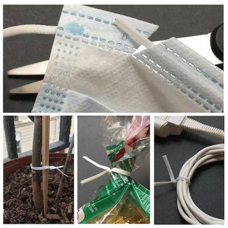 Hacks ties inside disposable masks