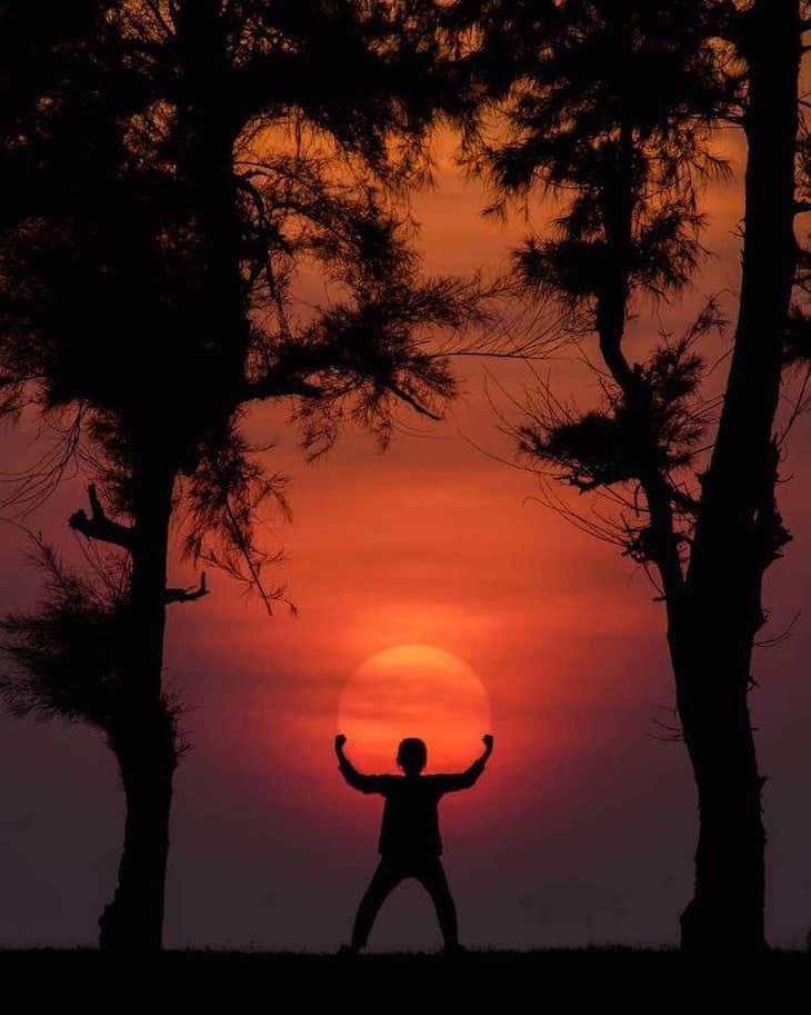 Whimsical Sunset Silhouette Photo by Krutik Thakur ball