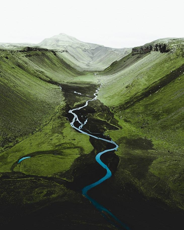 Iceland Aerial Shots, greenery