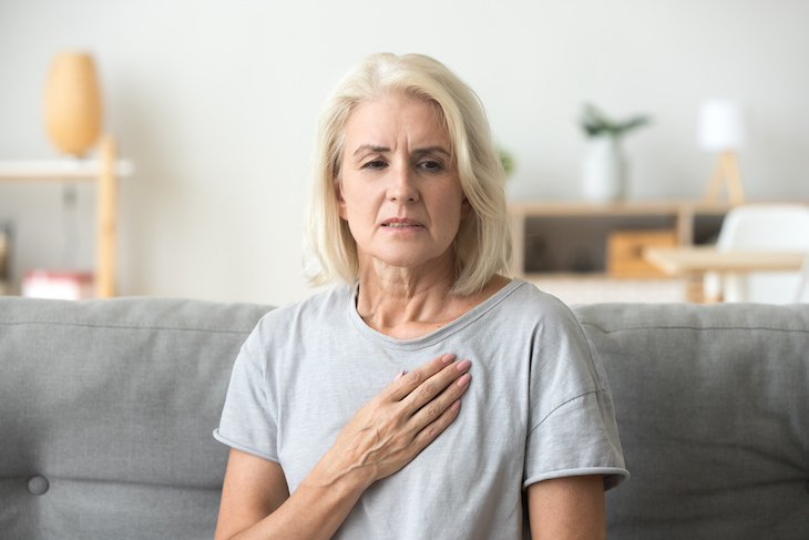 The Link Between Breakfast and Heart Health woman with chest pain