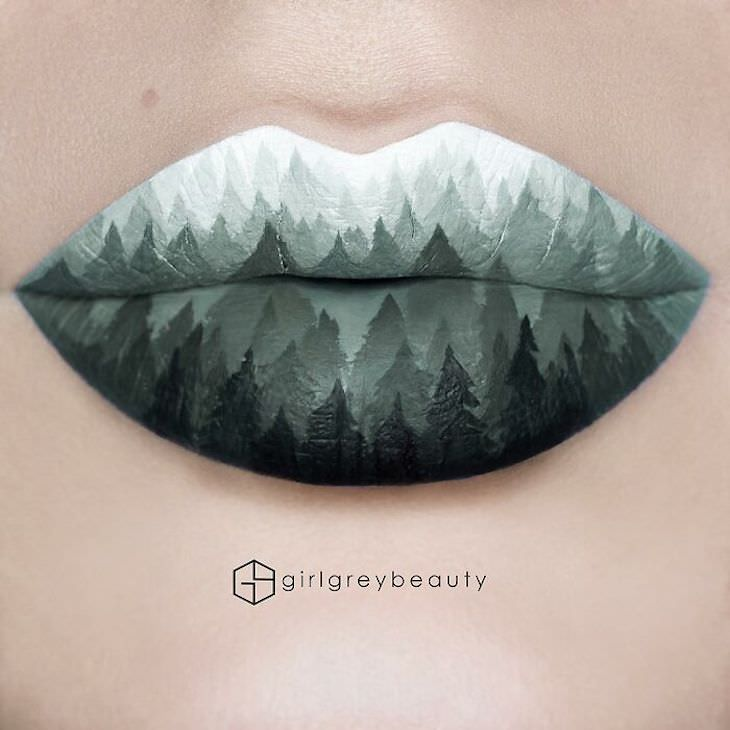 Andrea Reed's Stunning Lip Art forest