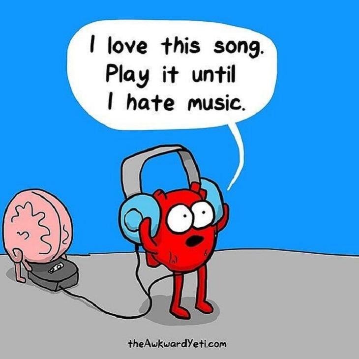 Funny Comics, Brain vs. Heart, music