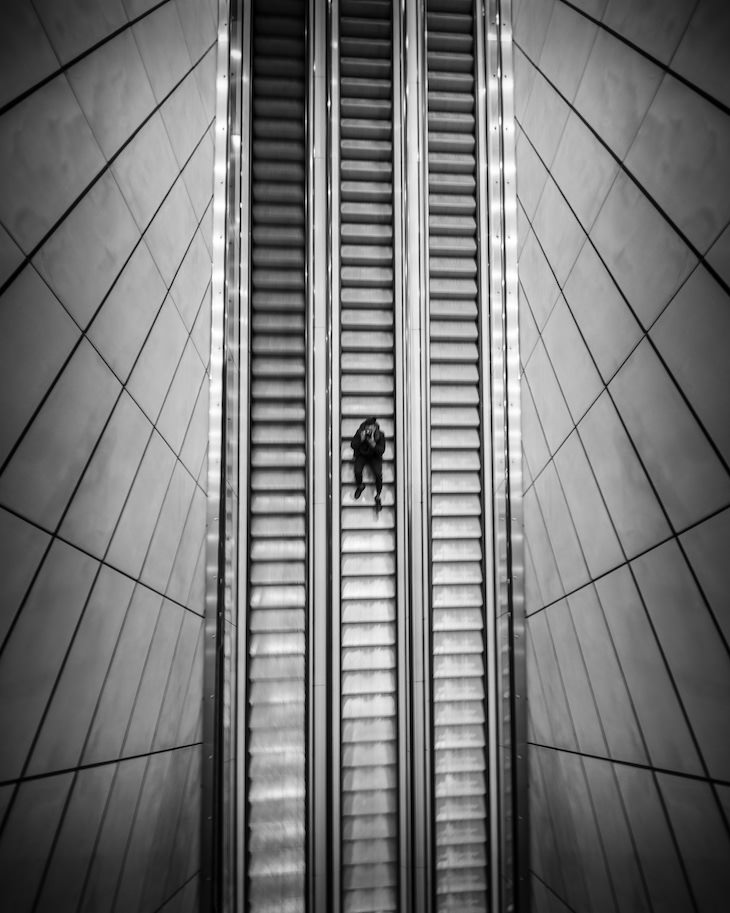 Evocative B&W Photography by Jason M. Peterson man on stairs