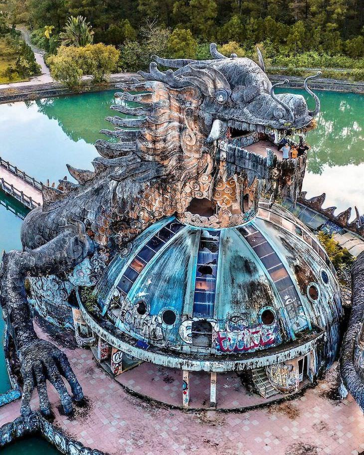 25 Aerial Shots of the World's Beautiful Landmarks Ho Thuy Tien Abandoned Waterpark In Hue, Vietnam