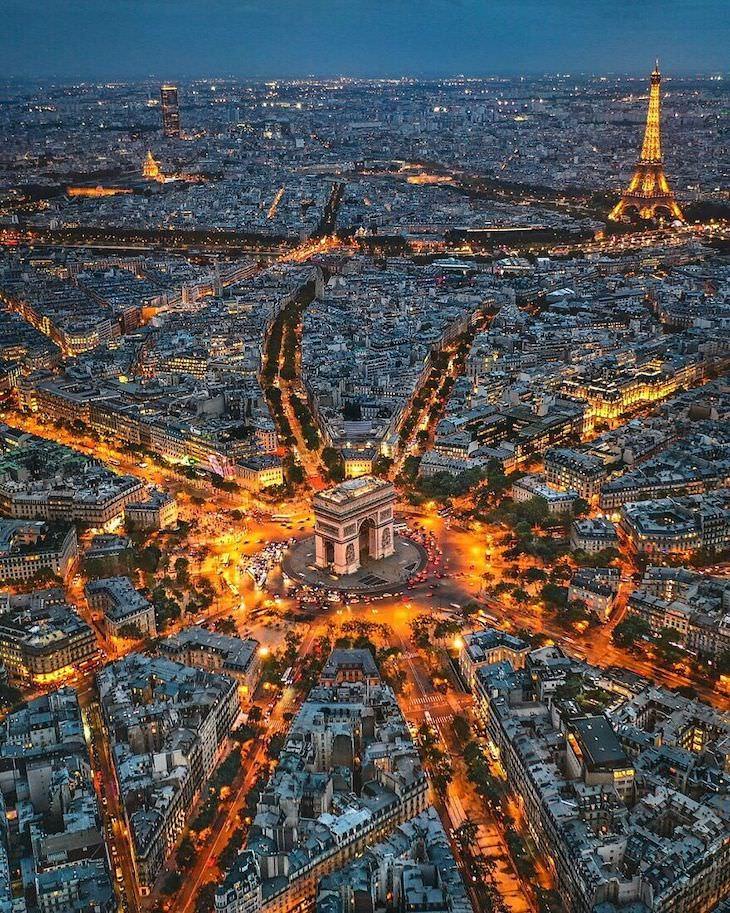 25 Aerial Shots of the World's Beautiful Landmarks Arc De Triomphe And Des Champs-Élysées France