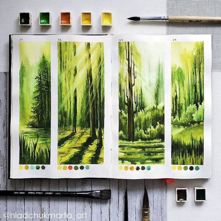 Watercolor Studies of Landscapes, forest