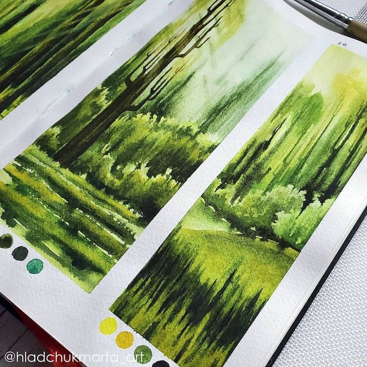 Watercolor Studies of Landscapes, trees