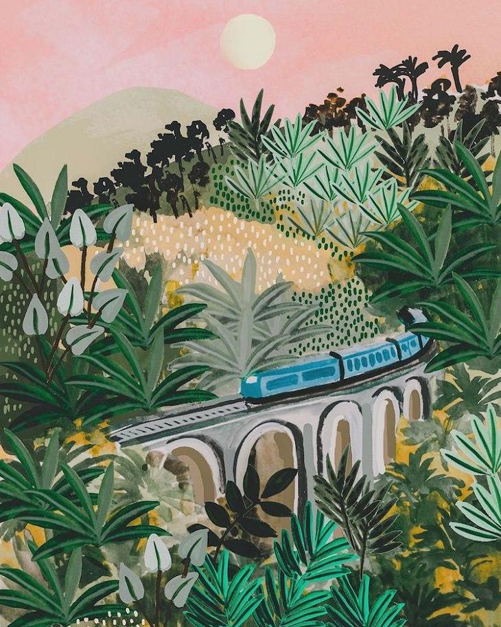 Ilustrações coloridas de viagens