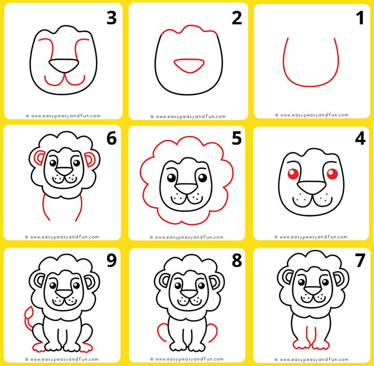 Animal Drawing Tutorials for Kids and Beginners lion