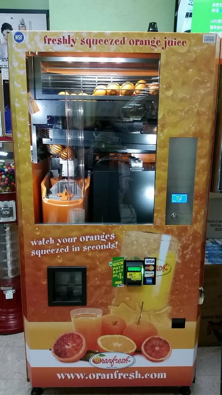 Vending Machines freshly-squeezed orange juice
