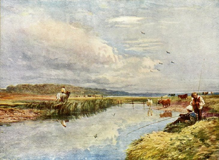 Landscape Paintings by David Cox, Fishing