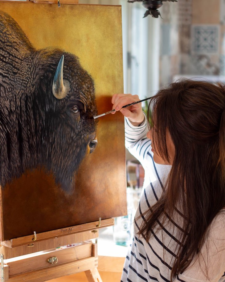 Brilliantly Detailed Animal Portraits by Sophie Green artist paints bison