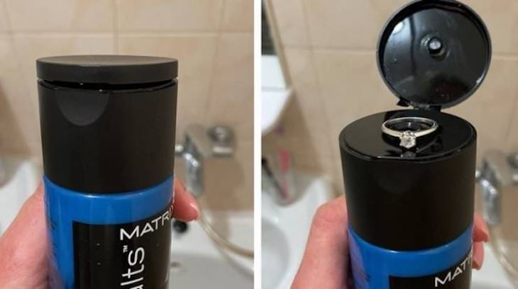 Funny Relationship Moments  ring in shampoo