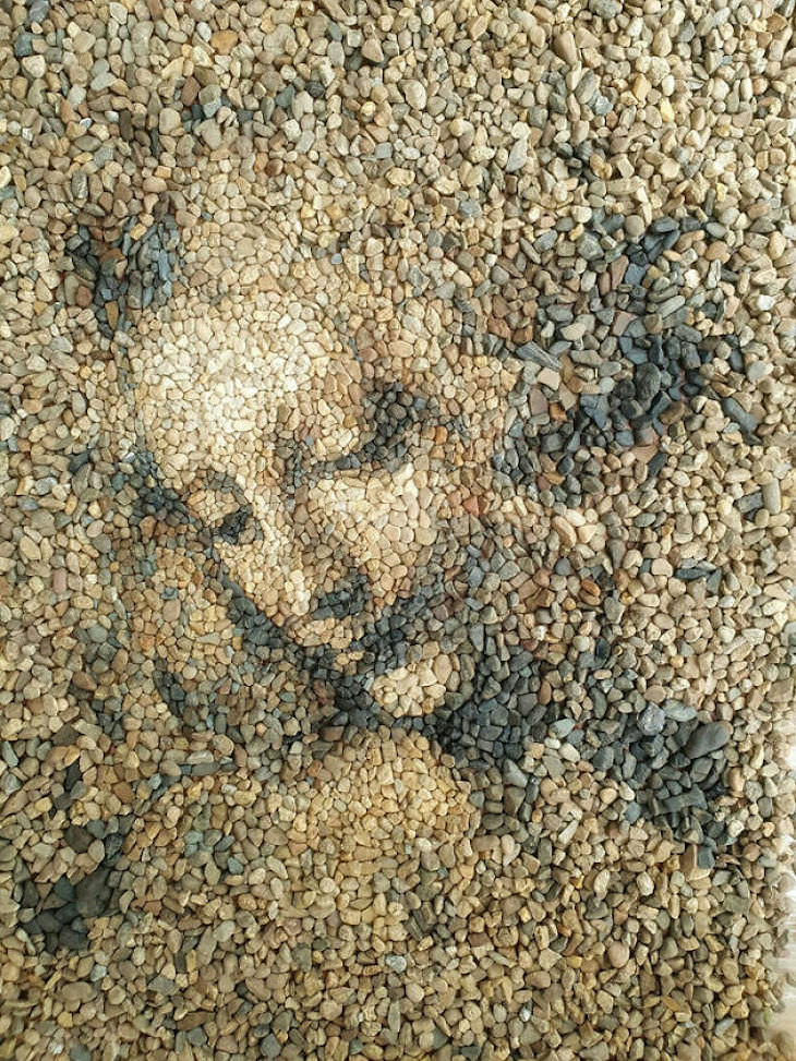 Recreation of Famous Artworks with Pebbles by Justin Bateman