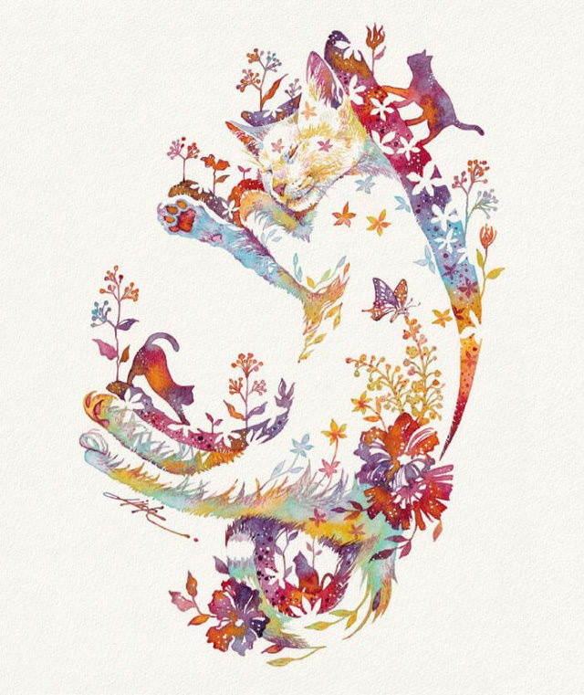 Watercolors by Hiroki Takeda sleeping cat