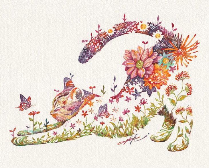 Watercolors by Hiroki Takeda stretching kitten
