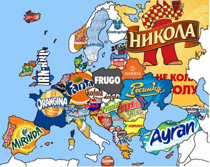 Unusual and Fun Maps,  soft drinks consumed in different parts of Europe