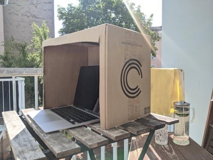 life hacks cardboard shade for laptop