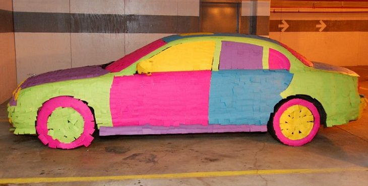 car wrapped in post-its