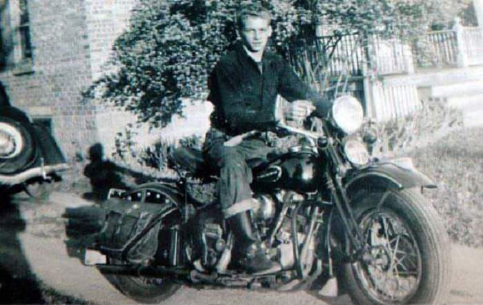 Young man with his Harley Davidson, 1942