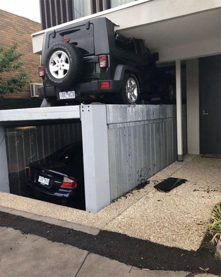 Interior Design Fails double-deck garage fail