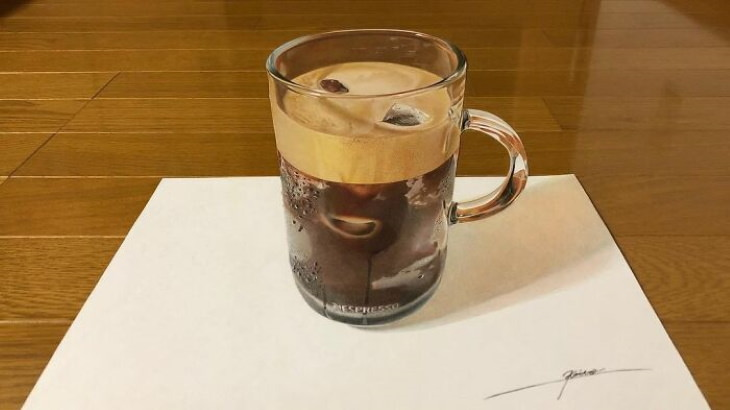 Photorealistic drawings by Keito ice coffee