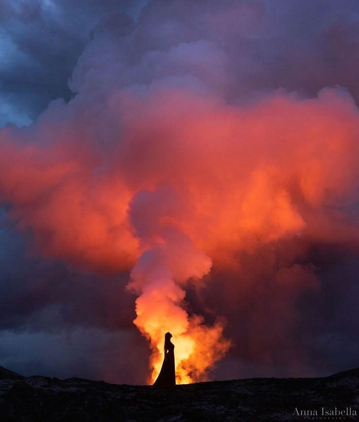 10 Artistic Self Portraits in Front of Erupting Volcano!