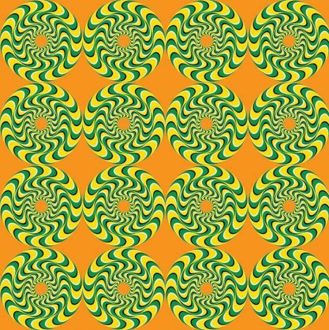 Optical Illusions yellow and green circles