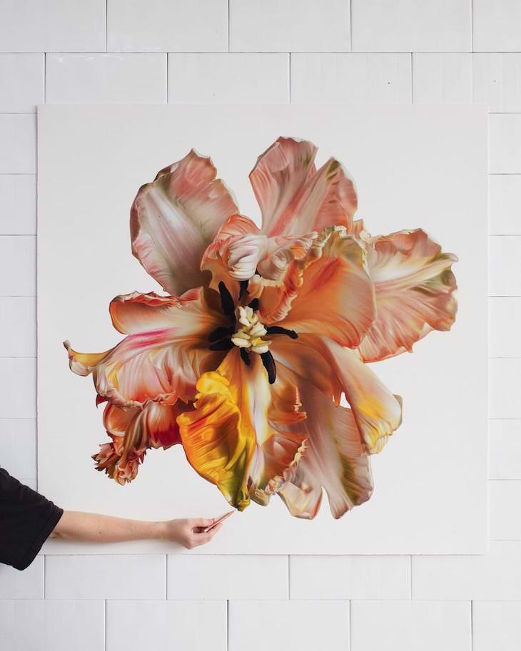 Lovely Hyperrealistic Flower Drawings by CJ Harvey Red Poppy