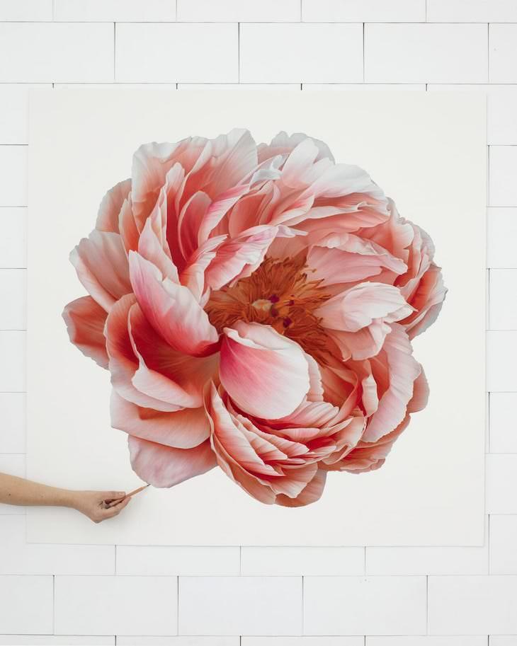 Lovely Hyperrealistic Flower Drawings by CJ Harvey Pink Fluffy Peony