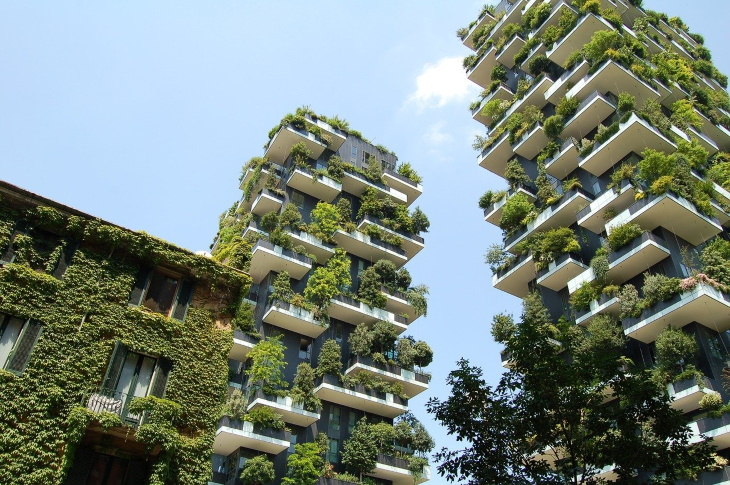 """Green Buildings """"Bosco Verticale""""(also known as """"Vertical Forest,"""" 2014)by Stefano Boeri Architetti- Milan, Italy"""