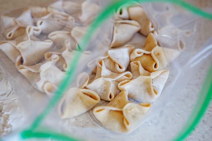 Freezer-Burned Food packaged ravioli